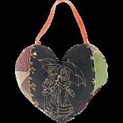 Vintage Primitive Folk Art Heart Shape Crazy Quilt Pin Cushion