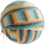Authentic Early 1900's Striped Fabric Rag Ball