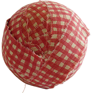 Vintage Primitive Red & White Checked Fabric Rag Ball