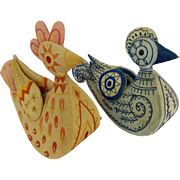 Pair of Large Vintage Folk Art Embroidered Bird Pin Cushion Whimsies From My Collection
