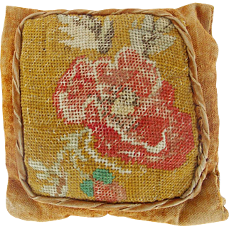 Antique Victorian Velvet Pin Cushion With Floral Needlepoint Top