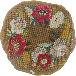 Antique Victorian Floral Design Needlepoint Pin Cushion Pillow