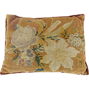 Antique Victorian Needlepoint Floral Pin Cushion Pillow