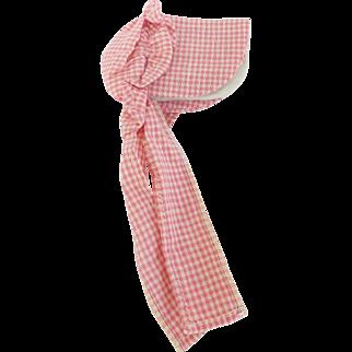 Vintage Primitive Folk Art Pink & White Homespun Bonnet Form Pin Holder Needle Case