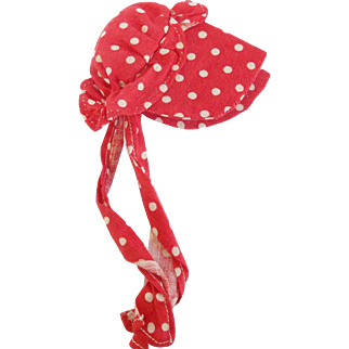 Vintage Primitive Folk Art Red & White Polka Dot Bonnet Form Pin Holder Needle Case