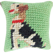 Petite Vintage Hand Made Terrier Dog Needlepoint Emery Pin Cushion