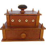Antique Oak & Maple Sewing Box With Bone Accents