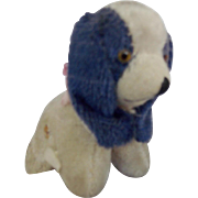 Vintage Blue & White Mohair Dog Pin Cushion Tape Measure Whimsy From My Collection