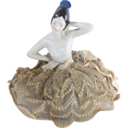 Vintage 1920's Spanish Style Porcelain Doll Pin Cushion