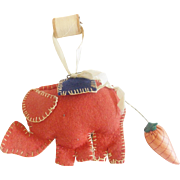 Vintage Folk Art Elephant Pin Cushion With Strawberry Emery Tail, From My Collection