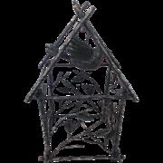 Unusual Large Vintage Folk Art Bird House Whimsy With Hanging Metal Bird