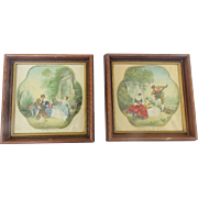 Pair of Matching Framed Vintage French Romantic Prints on Cloth With Embroidered Details