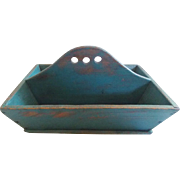 Late 19th C. Ephrata, Berks Co., PA., Large Primitive Teal Painted Cutlery Box Tray