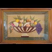 Unique C. 1940's Folk Art Raffia Fruit Compote Shadow Box Picture
