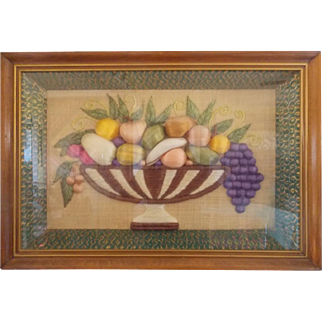 Unique C. 1940's Folk Art Raffia Fruit Compote Shadow Box Picture