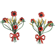 Pair of Vintage Near Mint Italian Toleware Poppies & Wheat Wall Candle Sconces