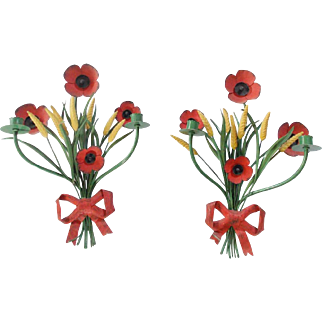 Pair of Vintage Shabby Chic Italian Toleware Poppies & Wheat Wall Candle Sconces