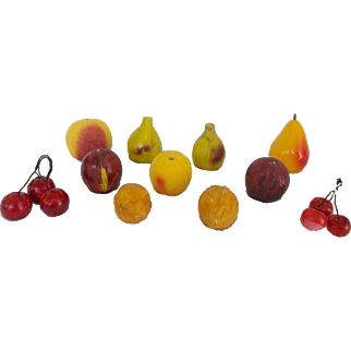 Group of 11 Vintage Italian Stone Fruit Inc. 2 Cherry Clusters, 2 Walnuts, & More