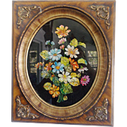 Vintage Mid 20th C. Folk Art Reverse Painted Tinsel Picture of Bouquet of Flowers
