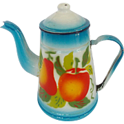 Vintage Blue & White Enamelware Coffee Pot with Fruit Design