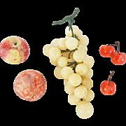 5 Pieces of Vintage Stone Fruit inc. Grapes, Cherries, & Plums