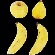 4 Pieces of Vintage Italian Stone Fruit inc. 2 Bananas, Pear, & Apple
