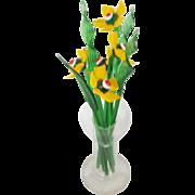 Unique Vintage Set of Glass Daffodil Form Swizzle Sticks in Vase