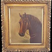 Antique Victorian Folk Art Oil Portrait Painting of Chestnut Horse