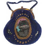 Adorable Vintage 1920's Beaded Purse with Rare Cat & Mouse Design