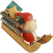 Antique German Composition Belsnickle Santa & Sleigh Candy Container w/Putz Pig & House