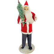 Vintage Composition Standing Santa Holding Feather Tree Figure