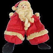 Vintage Primitive Folk Art Bean Bag Santa