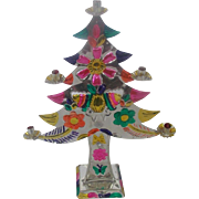 Vintage Mexican Folk Art Cut Tin Christmas Tree Candelabra With Butterfly Design