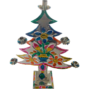 Vintage Mexican Folk Art Cut Tin Christmas Tree Candelabra With Urn of Flowers Design