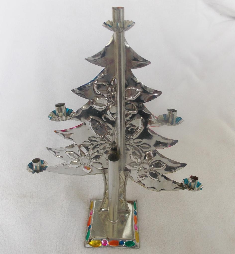 Vintage Mexican Folk Art Cut Tin Christmas Tree Candelabra With ...