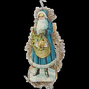 Antique Victorian Folk Art Double-Sided Blue and Green Santa Scrap Tinsel Ornament