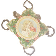 "Large 12"" Antique Victorian Folk Art Scrap Tinsel Christmas Ornament With Angel & Tulips"