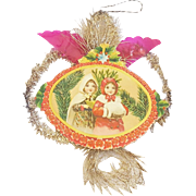 Antique Victorian Folk Art Scrap Tinsel Christmas Ornaments with Image of 2 Young Girls