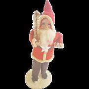 Vintage Japanese Cardboard & Composition Santa Holding Feather Tree