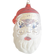 Vintage Marked West Germany Mercury Glass Santa Christmas Ornament