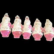 5 Vintage Mercury Glass Fuchsia Pink Santa Christmas Ornaments