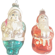 2 Vintage Mercury Glass Teal and Red Santa Ornaments