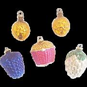 5 Vintage Mercury Glass Christmas Ornaments inc. 2 Walnuts, Pine Cone, Grape Cluster, & Basket