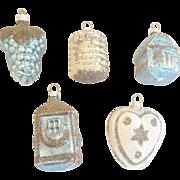 5 Vintage West German Silver & Teal Blue Mercury Glass Christmas Ornaments