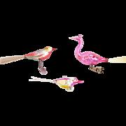 3 Vintage Mercury Glass Bird Christmas Ornaments inc. Fuchsia Peacock