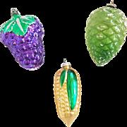 2 Mercury Glass + 1 Clear Colored Glass Ornaments inc. Corn, Grapes, & Pine Cone