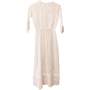 Antique Early 1900's Small Size Young Woman's or Girl's White Voile Day Dress