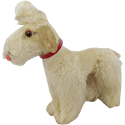 Vintage Tiny Articulated White Mohair Poodle Dog Toy with Glass Eyes - Red Tag Sale Item