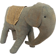 Late 19th-Early 20th C. Primitive Folk Art Elephant Stuffed Toy