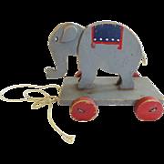 Vintage 1920's Primitive Folk Art Elephant Pull-Toy